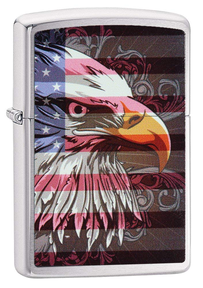 Zippo American Eagle and Flag Pocket Lighter Brushed Chrome
