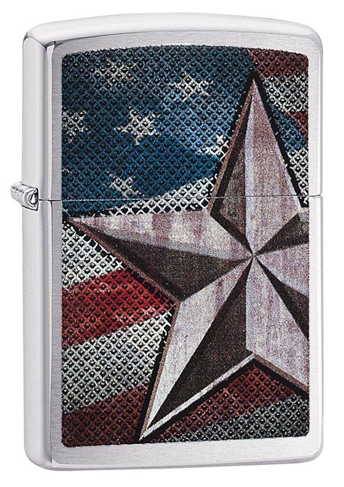 Zippo American Flag Star Pocket Lighter Brushed Chrome