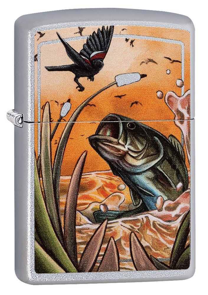 Zippo Bass Bird Satin Chrome Pocket Lighter
