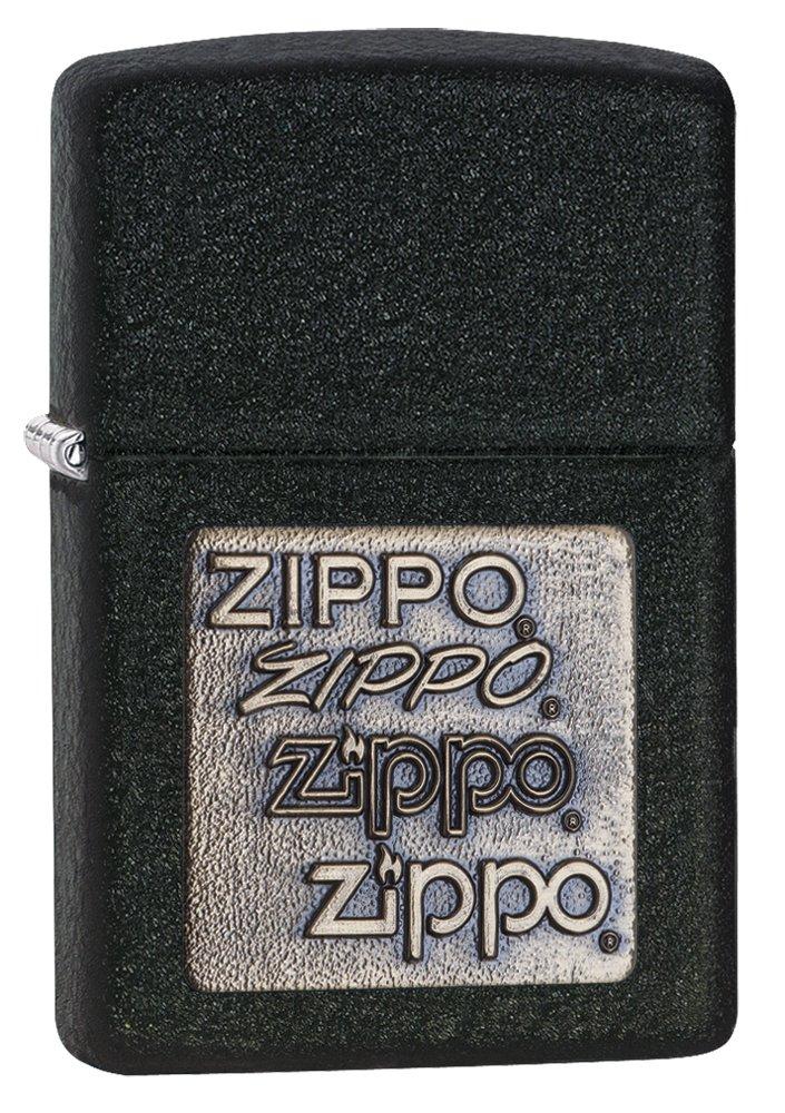 Zippo Brass Emblem Pocket Lighter Black Crackle