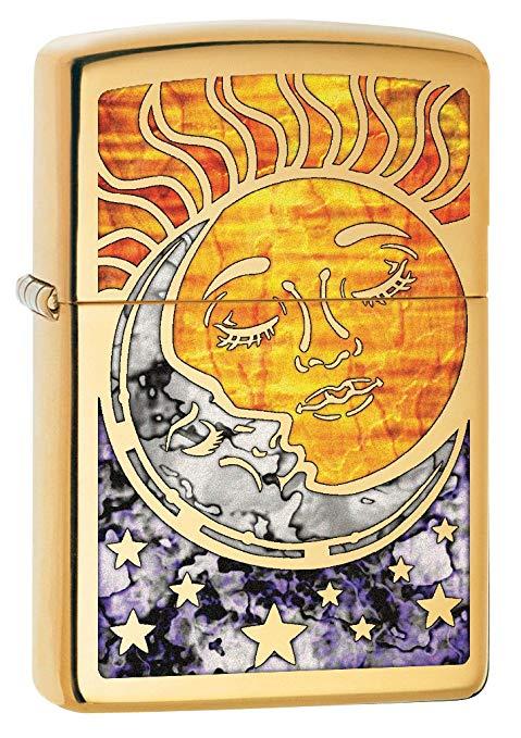 Zippo Custom Lighter Fusion Sun and Moon High Polish Brass