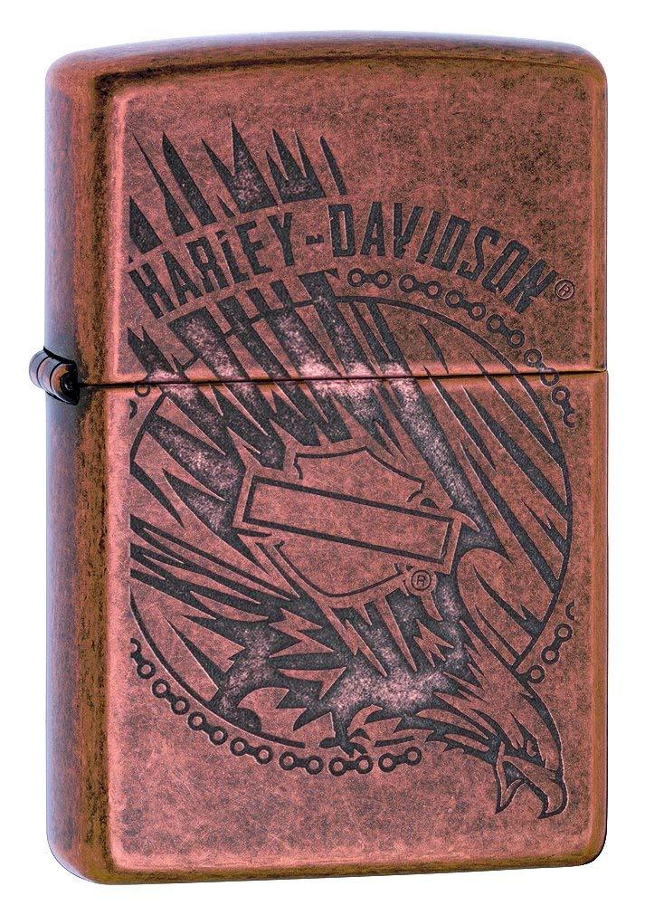 Zippo Harley Davidson Antique Copper Logo Pocket Lighter