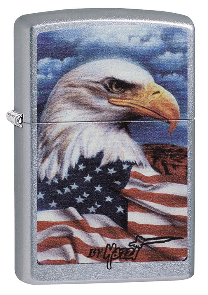 Zippo Mazzi Bald Eagle with Flag Pocket Lighter Street Chrome