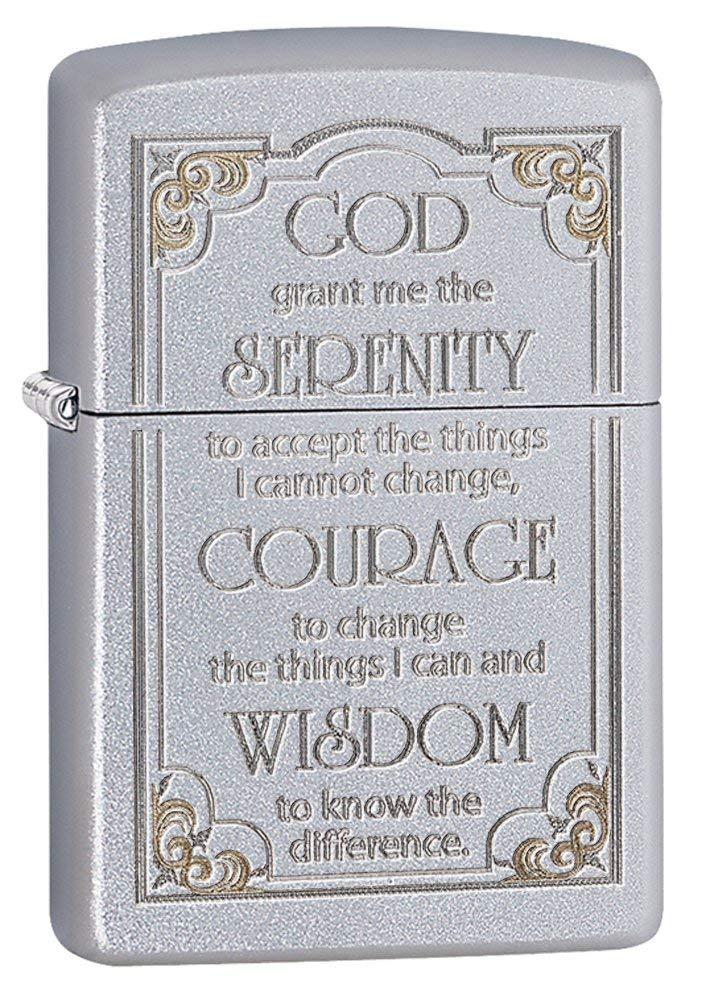 Zippo Serenity Prayer Pocket Lighter Satin Chrome