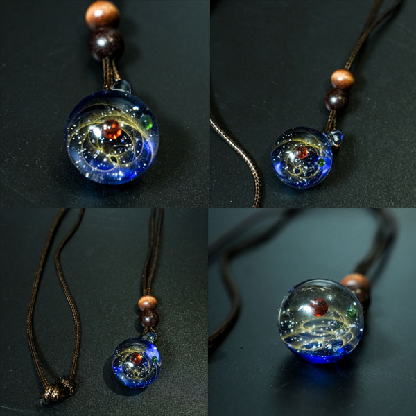 space glass necklace