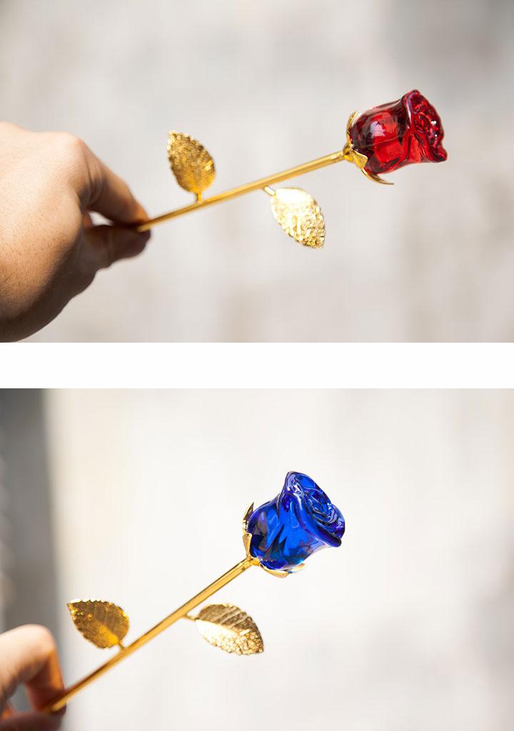 hoa hồng pha lê mạ vàng
